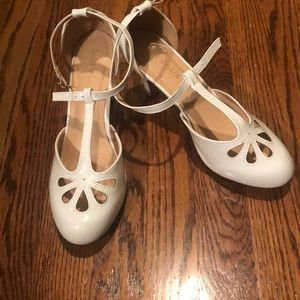 White Patent Leather 1920s style shoes